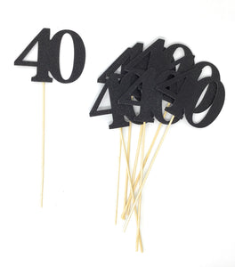 Black Number 40 Double Sided Centerpiece Sticks Set of 8 Real Glitter