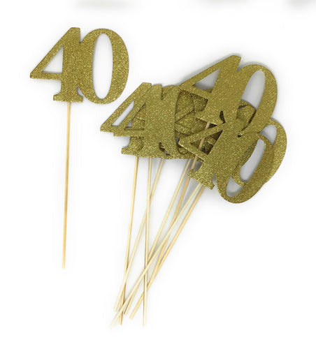 Gold Number 40 Double Sided Centerpiece Sticks Set of 8 Real Glitter