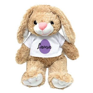 "Purple Egg Graphic Personalized Easter Bunny 16"" Plush Personalized Name Plus Print Color Custom Gift for Grand Kid Grandchildren with Message"