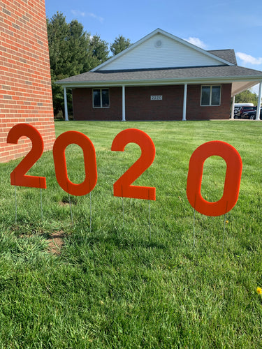Orange 2020 Lawn Letters Graduation Year Numbers Yard Sign Custom School Colors Available-Stakes Included