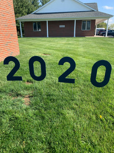 Navy Blue 2020 Lawn Letters Graduation Year Numbers Yard Sign Custom School Colors Available-Stakes Included
