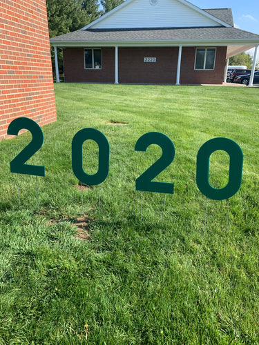 Green 2020 Lawn Letters Graduation Year Numbers Yard Sign Custom School Colors Available-Stakes Included