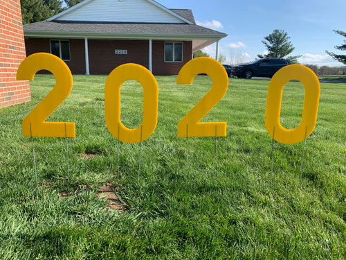 Yellow 2020 Lawn Letters Graduation Year Numbers Yard Sign Custom School Colors Available-Stakes Included