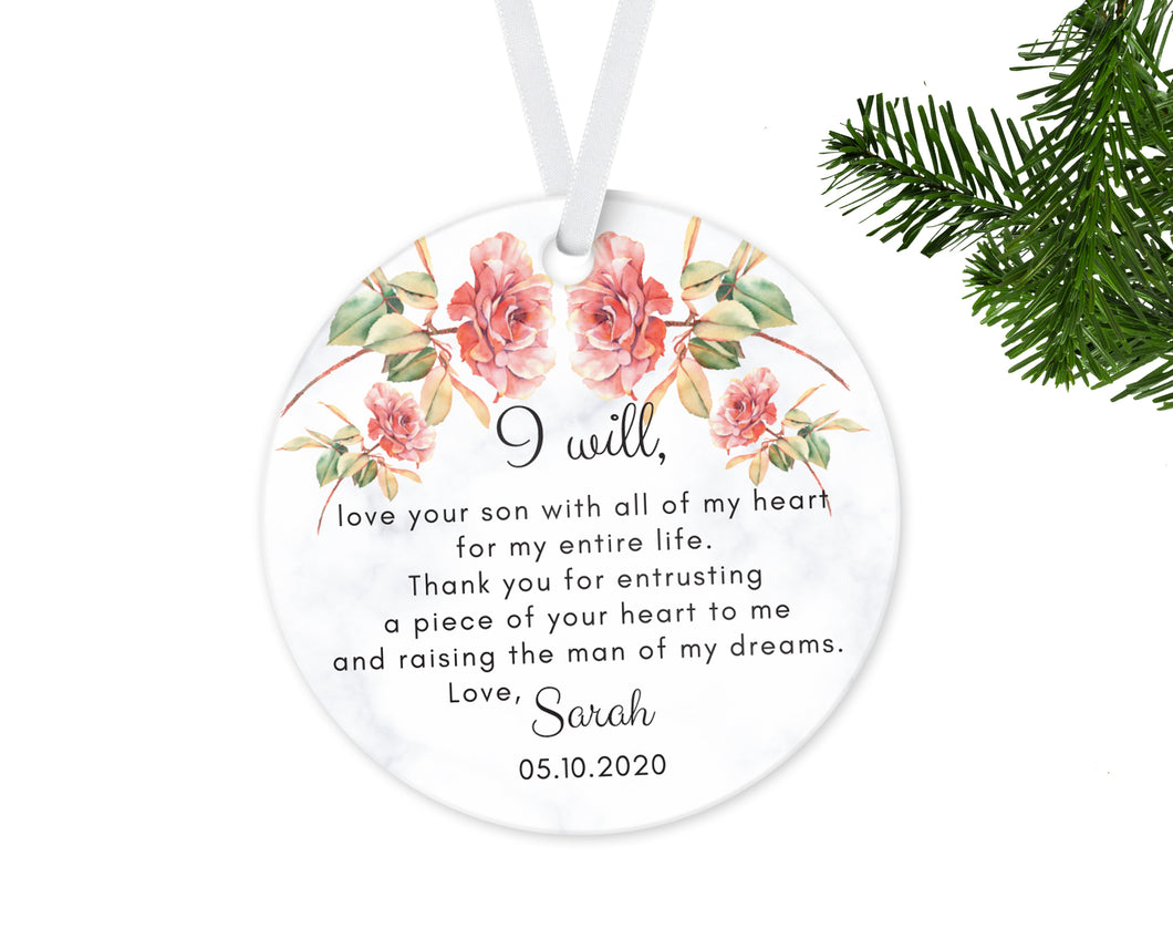Personalized Mother of Groom Mother of Bride Thank you Gift, Ceramic Round Ornament & Ribbon Wedding Keepsake Quote, Greens and Roses Design
