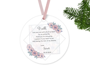 Personalized Mother of Groom Mother of Bride Thank you Gift, Ceramic Round Ornament with Ribbon, Wedding Keepsake Quote, Rose Pink Design