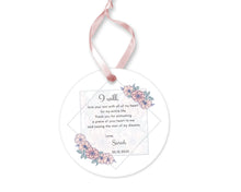 Load image into Gallery viewer, Personalized Mother of Groom Mother of Bride Thank you Gift, Ceramic Round Ornament with Ribbon, Wedding Keepsake Quote, Rose Pink Design