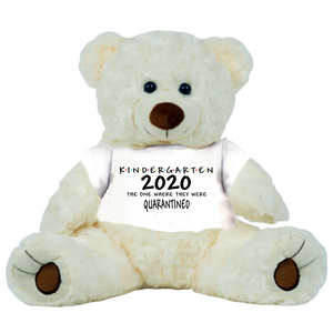 "Cream Bear Class of 2020 PreSchool or Other Class Quarantined Student Gift Graduation Personalized 16"" Teddy Bear Choose Bear Colors Personalized Name"