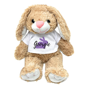 "Purple Bunny Graphic Personalized Easter Bunny 16"" Plush Personalized Name Plus Print Color Custom Gift for Grand Kid Grandchildren with Message"