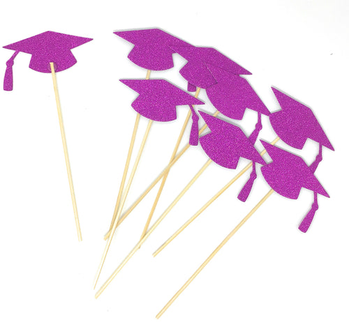 Purple Grad Hat Centerpiece Sticks DIY Graduation Decor Double Sided Glitter 8 Pack
