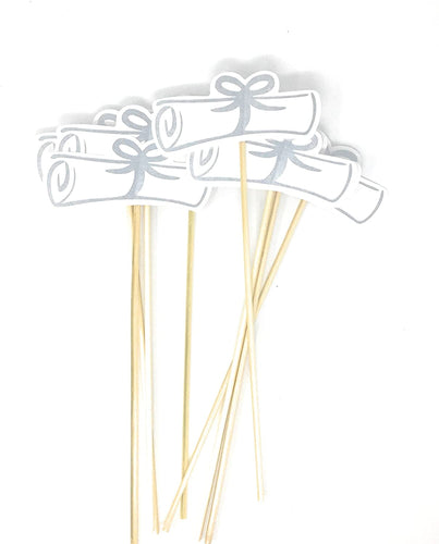 Silver Double Sided Graduation Diploma Centerpiece Sticks Set of 8 Diploma Picks Floral Picks Metallic Foil