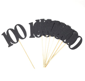 Black Number 100 Double Sided Centerpiece Sticks Set of 8 Real Glitter