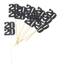 Load image into Gallery viewer, Black 8 pack of 2020 Centerpiece Sticks for DIY Graduation Centerpieces and Grad Decor