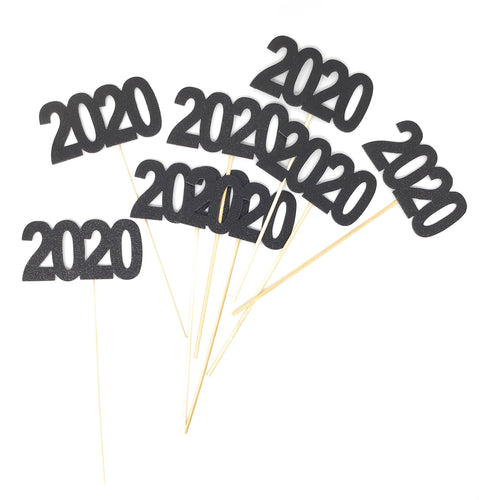 Black 8 pack of Double Sided Glitter 2020 Centerpiece Sticks in Various Colors for DIY Graduation Centerpiece and Grad Party Decor
