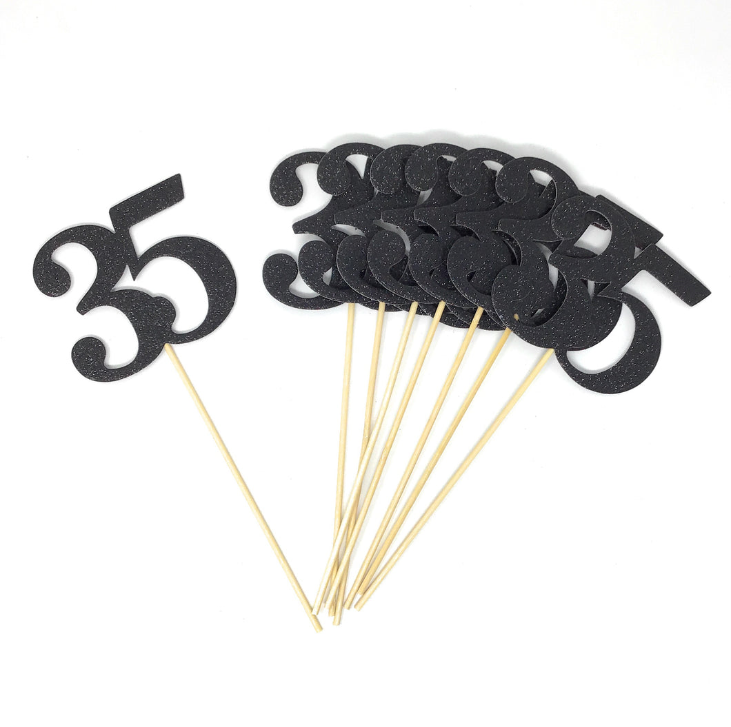 Black Number 35 Double Sided Centerpiece Sticks Set of 8 Real Glitter