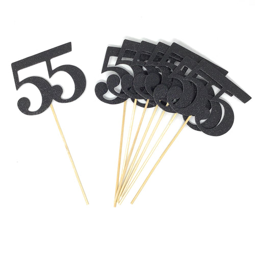 Black Number 55 Double Sided Centerpiece Sticks Set of 8 Real Glitter