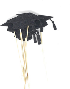 Black Grad Hat Centerpiece Sticks DIY Graduation Decor Double Sided Glitter 8 Pack