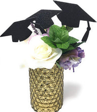 Load image into Gallery viewer, Black Grad Hat Centerpiece Sticks DIY Graduation Decor Double Sided Glitter 8 Pack