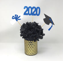Load image into Gallery viewer, Blue 3 piece set of School Colors Centerpiece Sticks including Diploma, Grad Cap, 2020 for DIY Graduation Decor