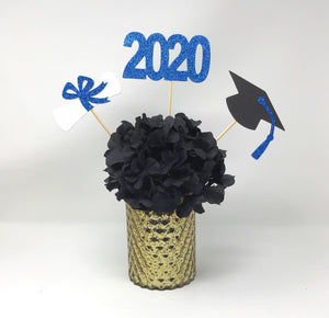 Blue 3 piece set of School Colors Centerpiece Sticks including Diploma, Grad Cap, 2020 for DIY Graduation Decor