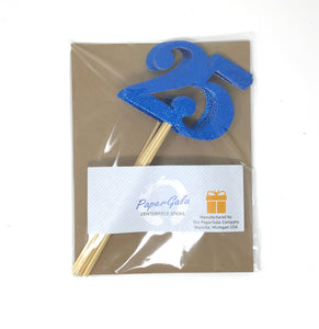 Blue Number 25 Double Sided Centerpiece Sticks Set of 8 Real Glitter