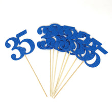 Load image into Gallery viewer, Blue Number 35 Double Sided Centerpiece Sticks Set of 8 Real Glitter