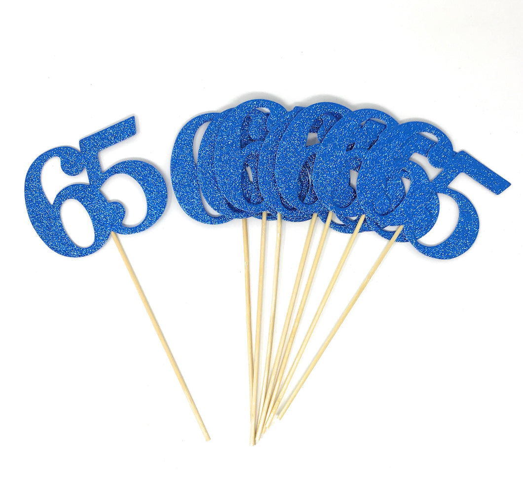 Blue Number 65 Double Sided Centerpiece Sticks Set of 8 Real Glitter