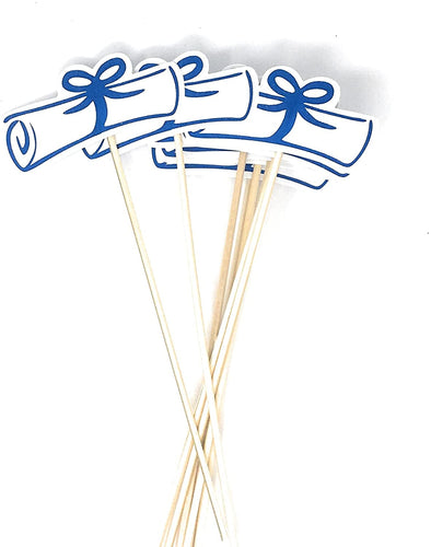 Blue Double Sided Graduation Diploma Centerpiece Sticks Set of 8 Diploma Picks Floral Picks Metallic Foil