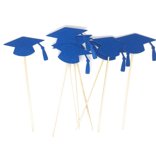 Blue Grad Hat Centerpiece Sticks DIY Graduation Decor Double Sided Glitter 8 Pack