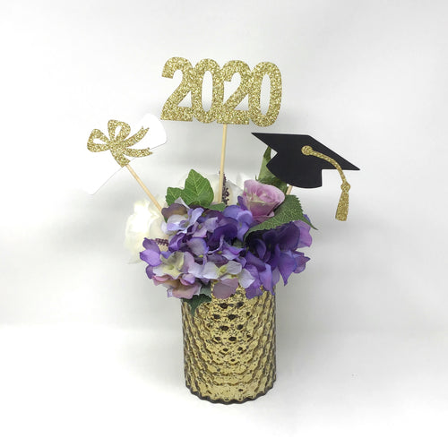 Gold 3 piece set of School Colors Centerpiece Sticks including Diploma, Grad Cap, 2020 for DIY Graduation Decor