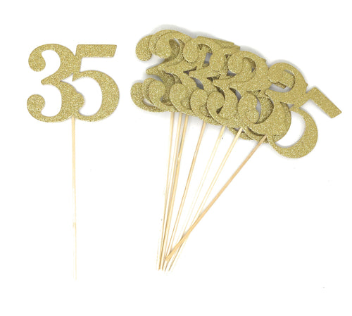 Gold Number 35 Double Sided Centerpiece Sticks Set of 8 Real Glitter
