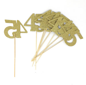 Gold Number 45 Double Sided Centerpiece Sticks Set of 8 Real Glitter