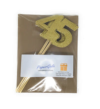 Load image into Gallery viewer, Gold Number 45 Double Sided Centerpiece Sticks Set of 8 Real Glitter