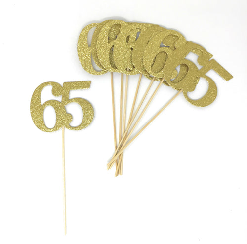 Gold Number 65 Double Sided Centerpiece Sticks Set of 8 Real Glitter