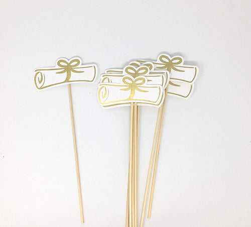 Gold Double Sided Graduation Diploma Centerpiece Sticks Set of 8 Diploma Picks Floral Picks Metallic Foil