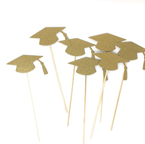 Gold Grad Hat Centerpiece Sticks DIY Graduation Decor Double Sided Glitter 8 Pack