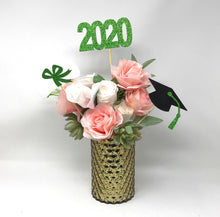 Load image into Gallery viewer, Green 3 piece set of School Colors Centerpiece Sticks including Diploma, Grad Cap, 2020 for DIY Graduation Decor