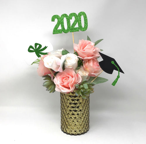 Green 3 piece set of School Colors Centerpiece Sticks including Diploma, Grad Cap, 2020 for DIY Graduation Decor