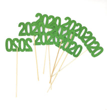 Load image into Gallery viewer, Green 8 pack of Double Sided Glitter 2020 Centerpiece Sticks in Various Colors for DIY Graduation Centerpiece and Grad Party Decor