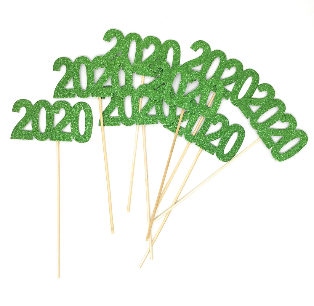 Green 8 pack of Double Sided Glitter 2020 Centerpiece Sticks in Various Colors for DIY Graduation Centerpiece and Grad Party Decor