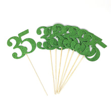 Load image into Gallery viewer, Green Number 35 Double Sided Centerpiece Sticks Set of 8 Real Glitter