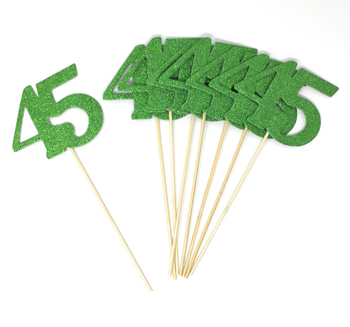 Green Number 45 Double Sided Centerpiece Sticks Set of 8 Real Glitter
