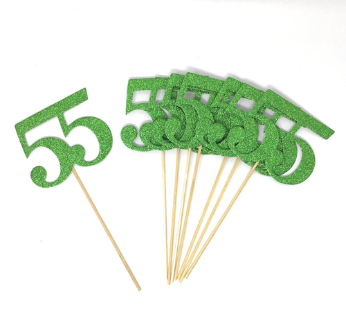 Green Number 55 Double Sided Centerpiece Sticks Set of 8 Real Glitter