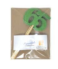 Load image into Gallery viewer, Green Number 65 Double Sided Centerpiece Sticks Set of 8 Real Glitter