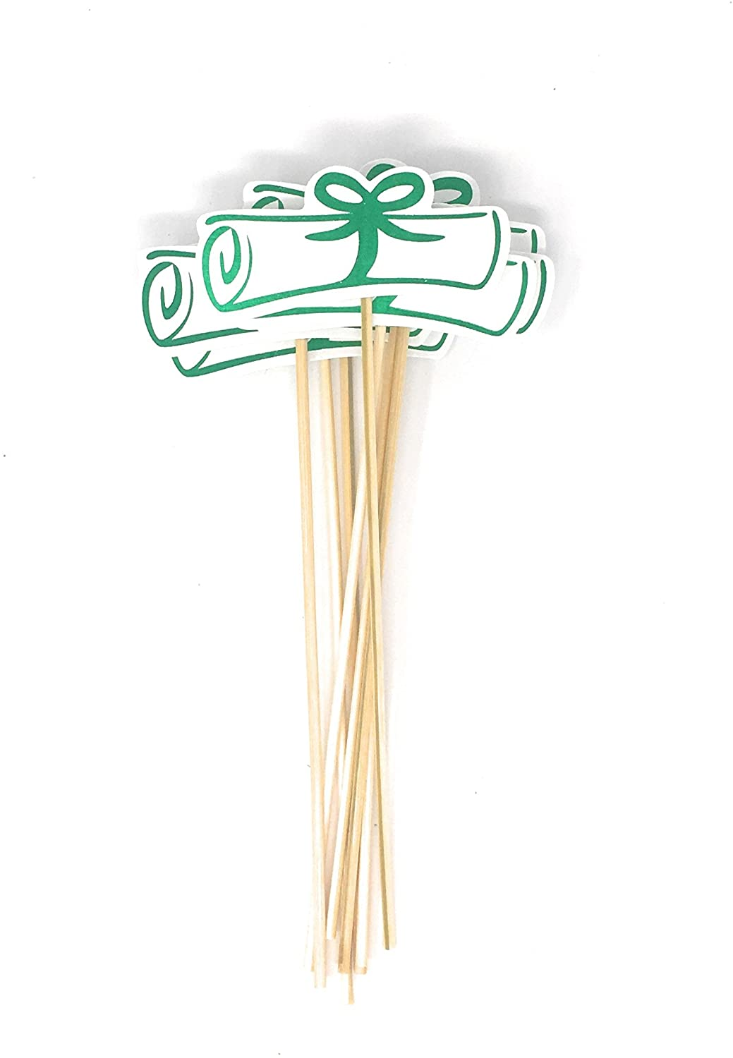 Green Double Sided Graduation Diploma Centerpiece Sticks Set of 8 Diploma Picks Floral Picks Metallic Foil