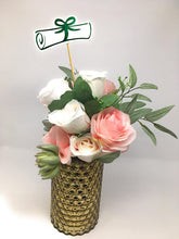 Load image into Gallery viewer, Green Double Sided Graduation Diploma Centerpiece Sticks Set of 8 Diploma Picks Floral Picks Metallic Foil