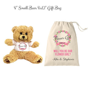 Flower Girl Teddy Bear and Gift Bag 8 or 16 inch Tan Plush Gift for Wedding Party Add Your Custom Name Wedding Thank You Message Proposal