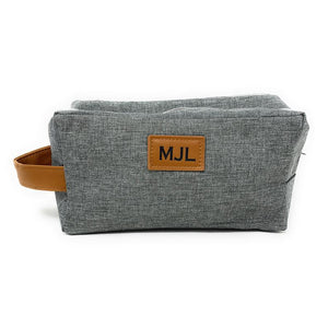 Gray Personalized Mens Toiletry Bag Groomsman Father's Day Birthday Gift Add Monogram Choose Custom Text Color Gray Black Grooming Shave Kit Dopp