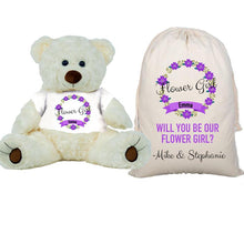 Load image into Gallery viewer, Purple Flower Girl Teddy Bear and Gift Bag 8 or 16 inch Tan Plush Gift for Wedding Party Custom Name Wedding Will you be our flower girl