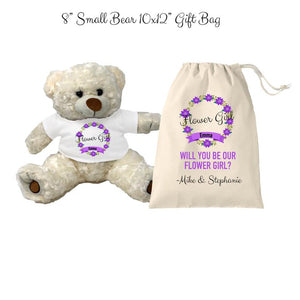 Purple Flower Girl Teddy Bear and Gift Bag 8 or 16 inch Tan Plush Gift for Wedding Party Custom Name Wedding Will you be our flower girl