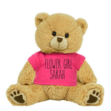 Load image into Gallery viewer, Pink Shirt Flower Girl Teddy Bear and Gift Bag 8 or 16 inch Tan Plush for Wedding Party Add Custom Name Wedding Thank You Message Proposal